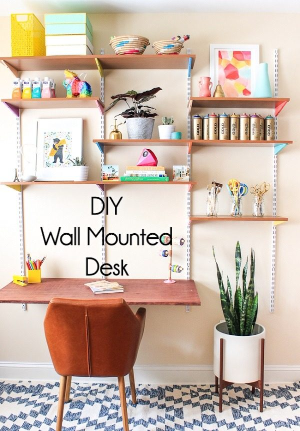 Check out this idea for a #DIY wall mounted shelf desk. Looks easy enough! #HomeDecorIdeas
