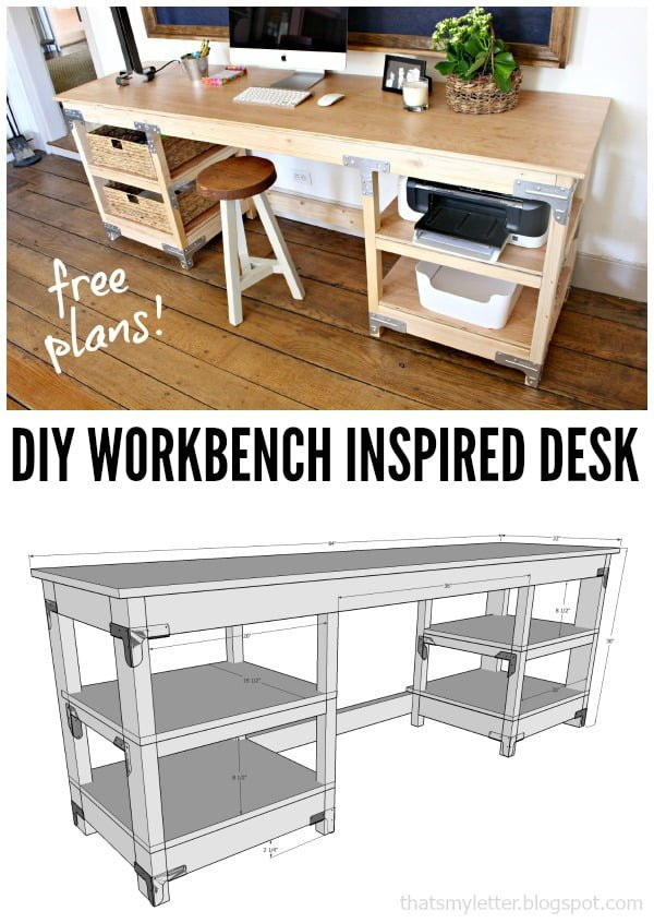 Check out this idea for a #DIY workbench inspired desk. Looks easy enough! #HomeDecorIdeas