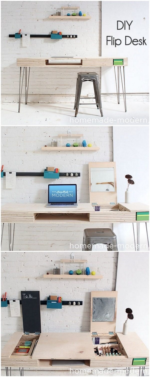 Check out this idea for a #DIY modern flip desk. Looks easy enough! #HomeDecorIdeas