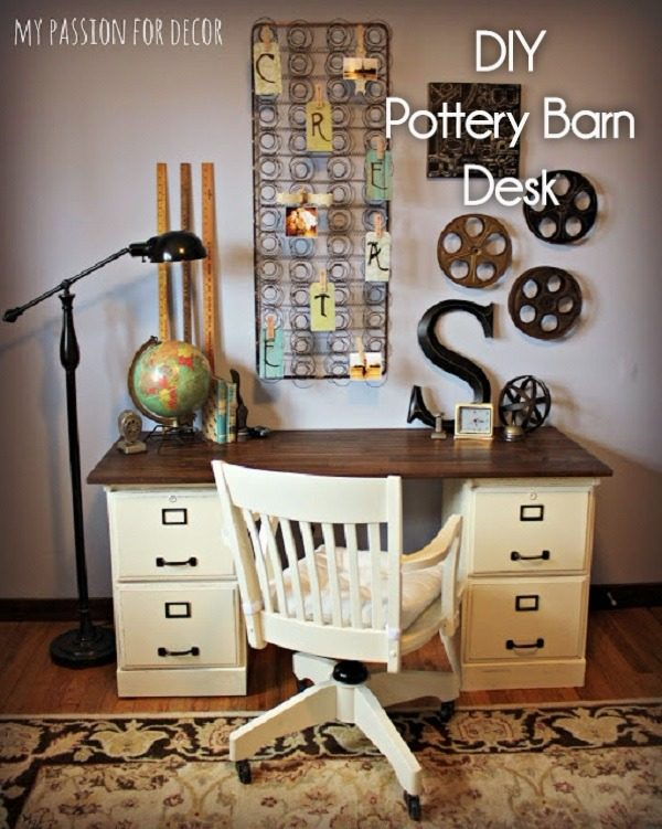 Check out this idea for a #DIY repurposed cabinet desk. Looks easy enough! #HomeDecorIdeas
