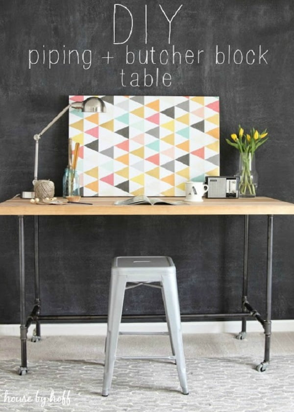 Check out this idea for a #DIY piping and butcher block #rustic desk. Looks easy enough! #HomeDecorIdeas