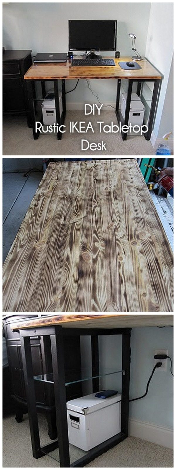 Check out this idea for a #DIY #wood tabletop and IKEA legs desk. Looks easy enough! #HomeDecorIdeas