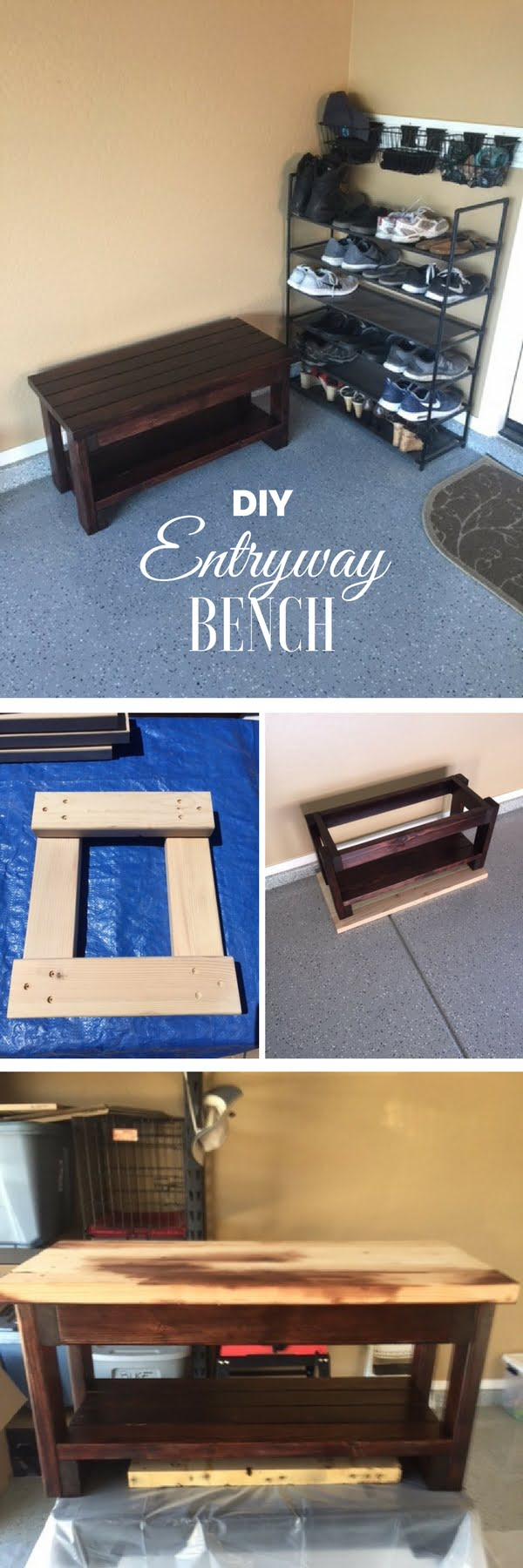 20 Crafty 2x4 DIY Projects That You Can Easily Make - Check out how to make a DIY wooden entryway bench from 2x4s