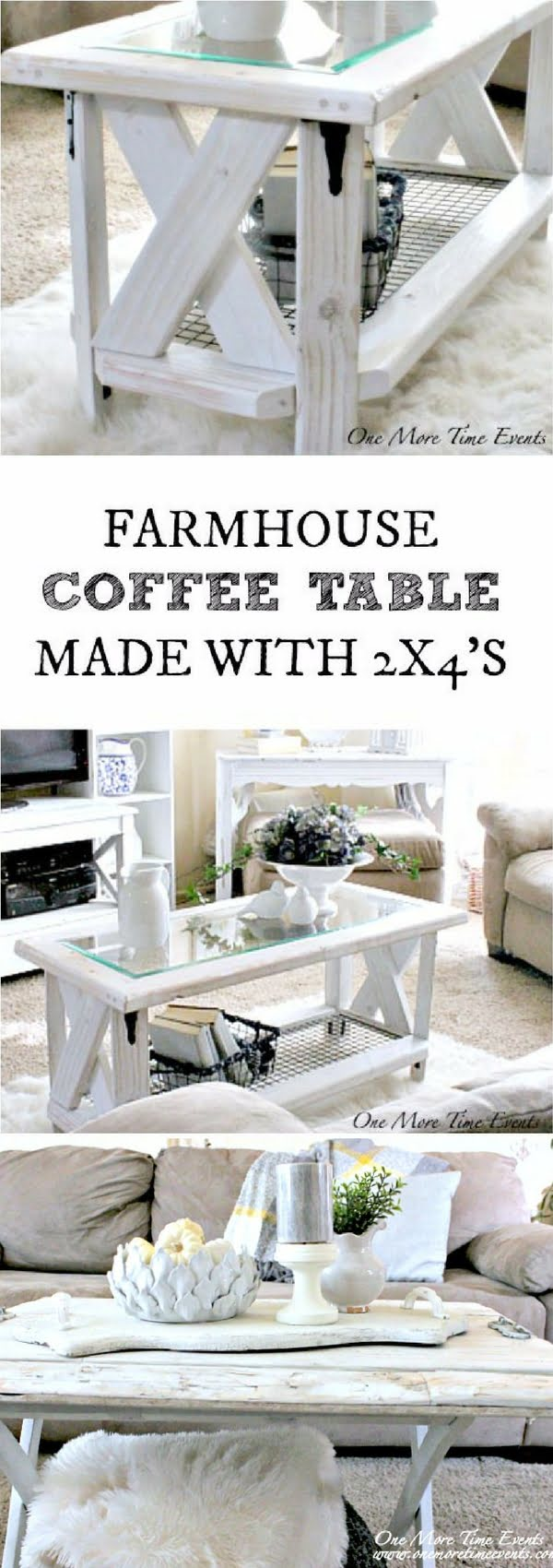 Check out how to make a DIY farmhouse coffee table from 2x4s