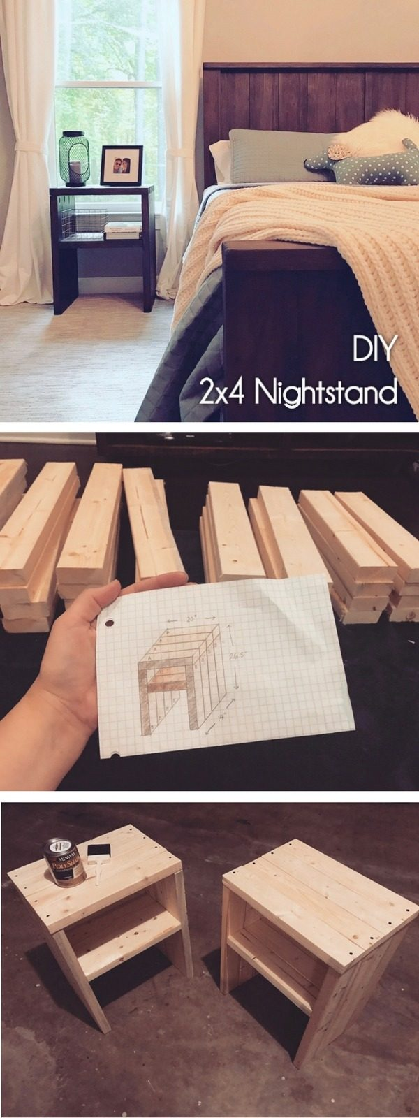 20 Crafty 2x4 DIY Projects That You Can Easily Make - Check out how to make a #DIY #wooden nightstand from 2x4s #HomeDecorIdeas #BedroomDecor