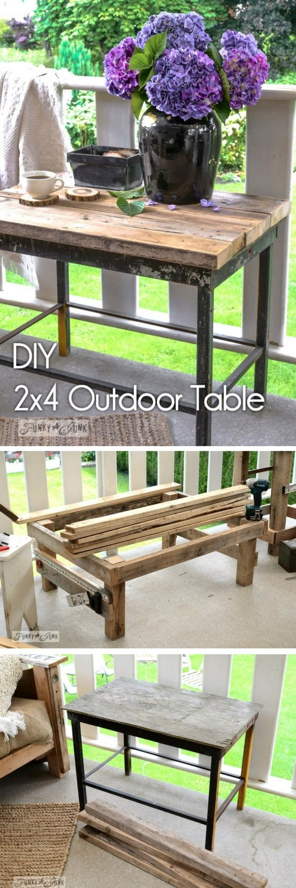 20 Crafty 2x4 DIY Projects That You Can Easily Make - Check out how to make a #DIY #wooden outdoor table from 2x4s #HomeDecorIdeas