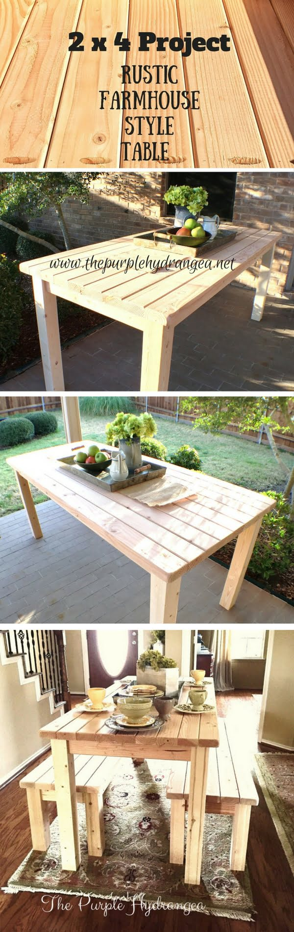 Check out how to make a DIY wooden farmhouse table from 2x4s