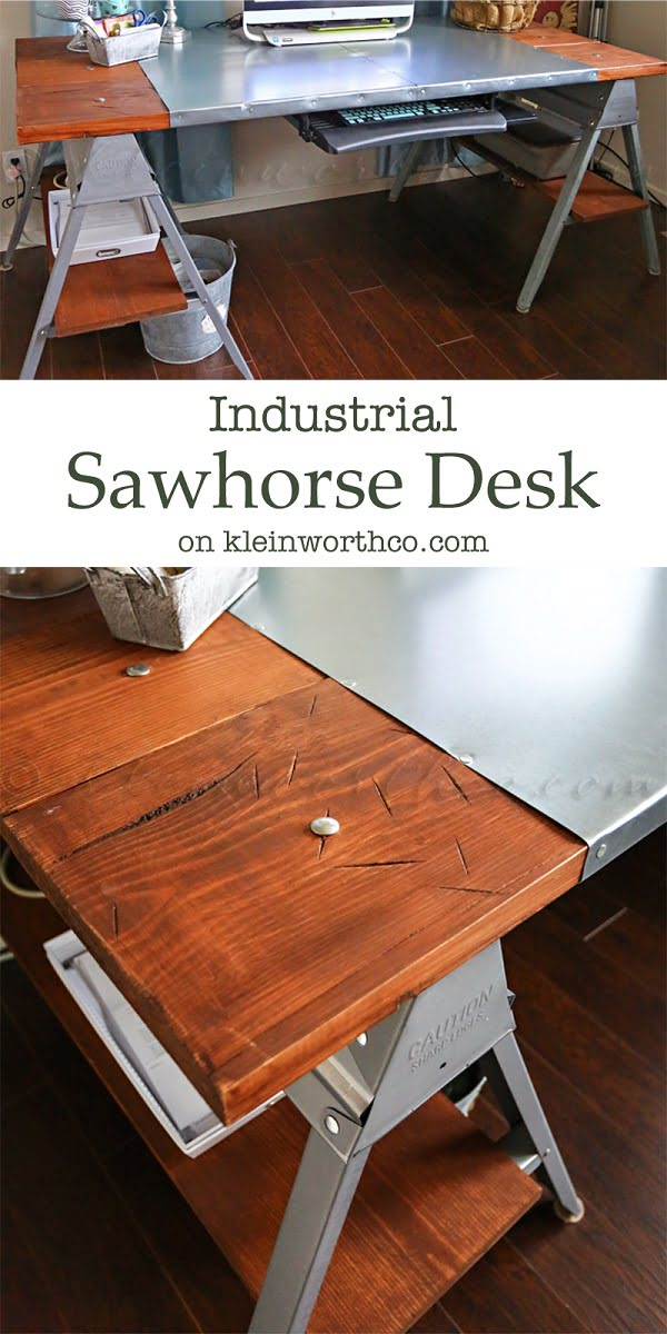 Check out this idea for a #DIY industrial sawhorse desk. Looks easy enough! #HomeDecorIdeas