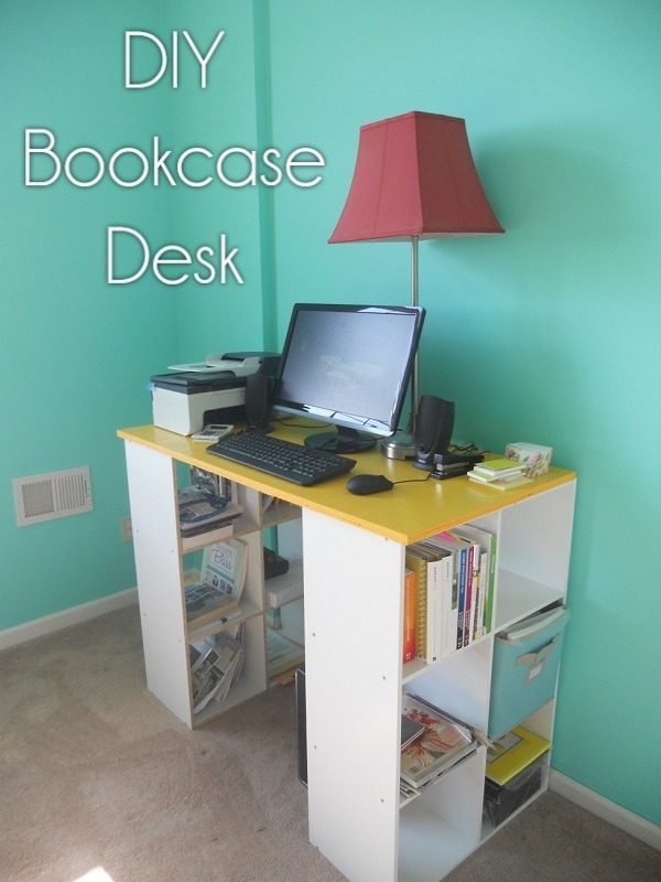 Check out this idea for a #DIY bookshelf desk. Looks easy enough! #HomeDecorIdeas