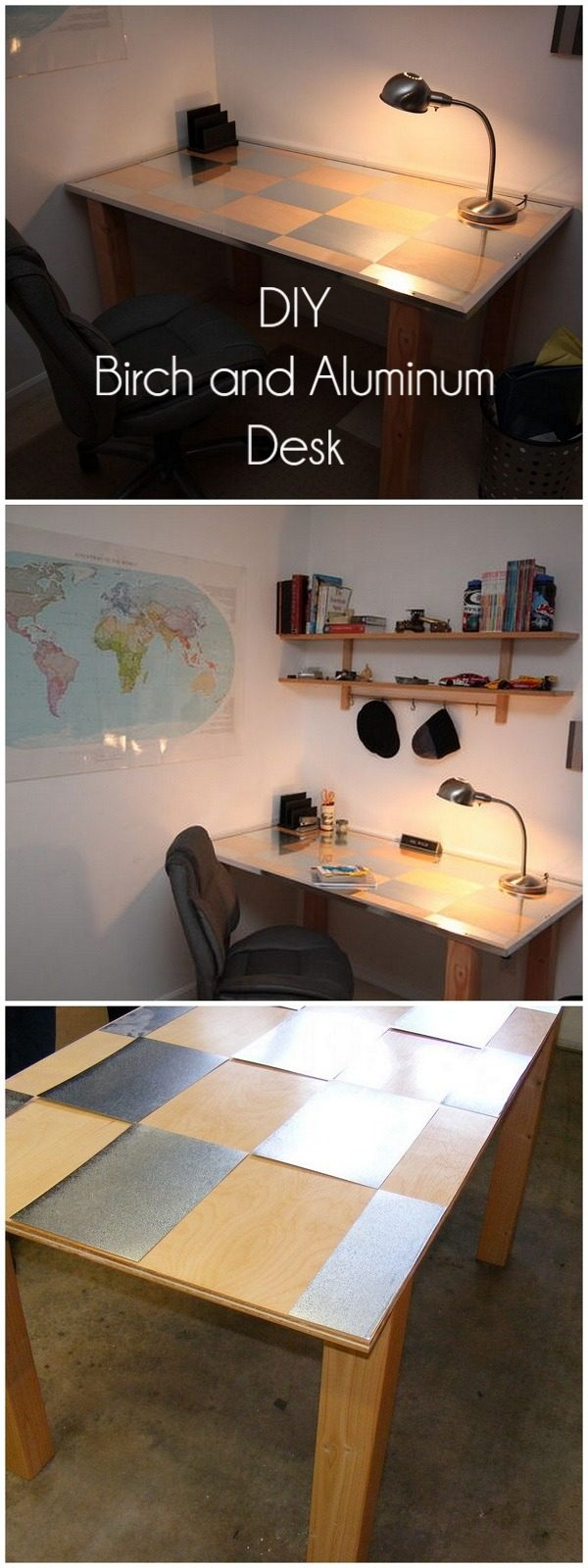 Check out this idea for a #DIY birch and aluminum desk. Looks easy enough! #HomeDecorIdeas