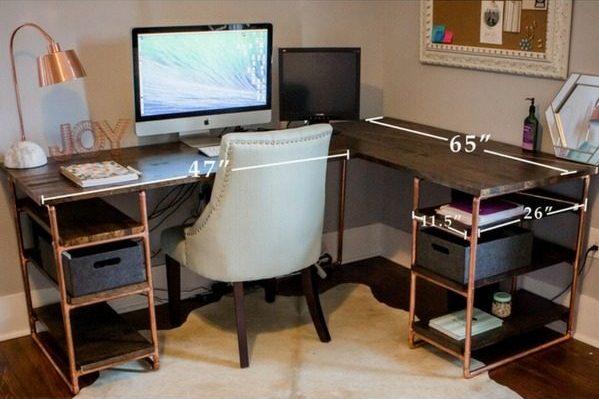 copper and pipe desk