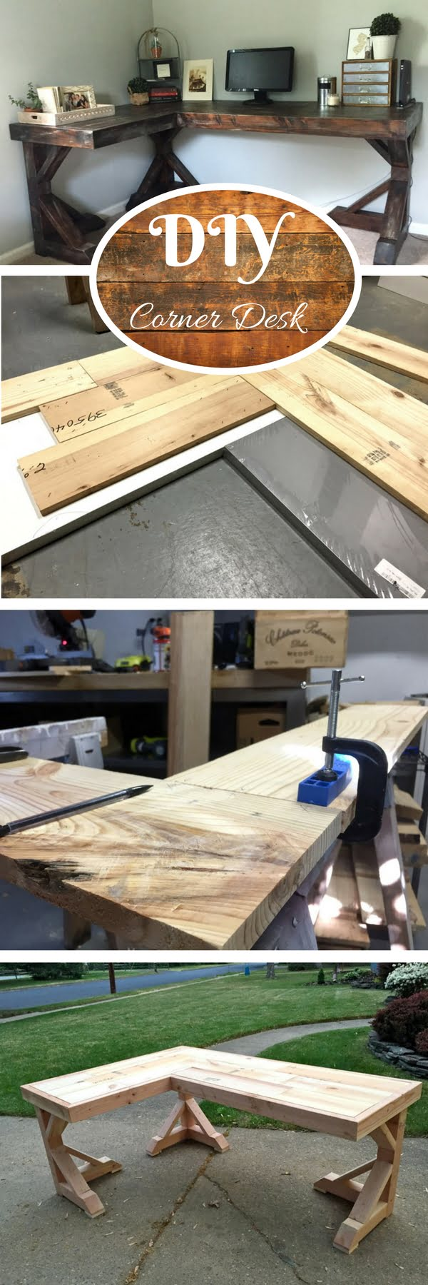Check out the tutorial how to build a DIY corner desk