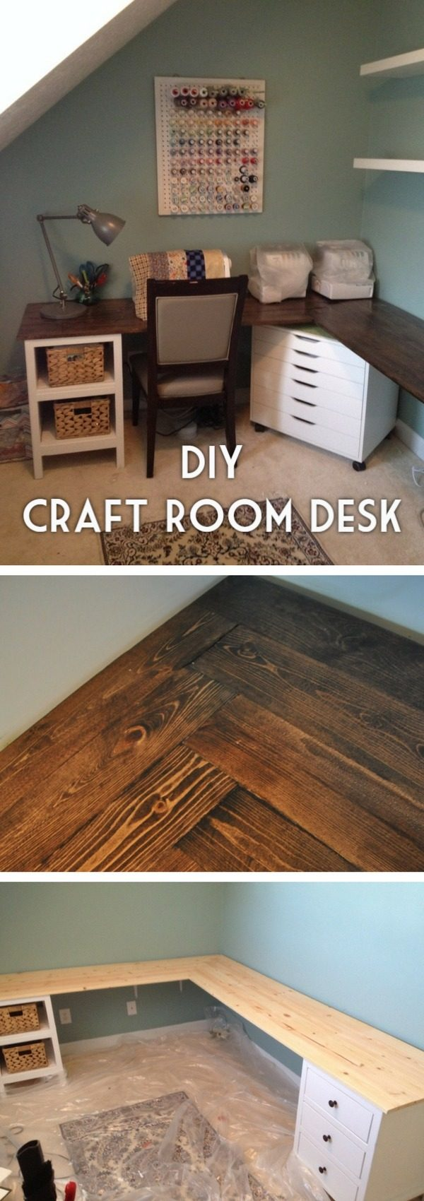 Check out the tutorial how to build an easy to assemble DIY craft room desk