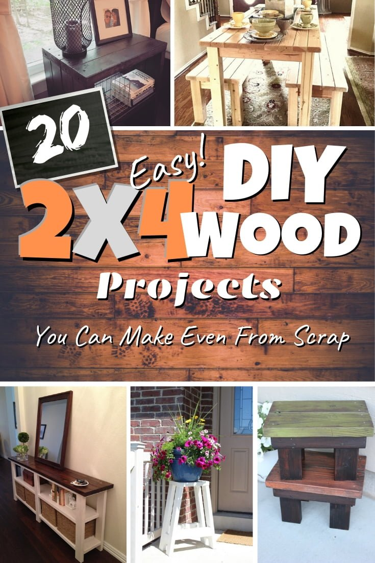 DIY projects with 2x4 wood are some of the easiest and beginner friendly. Here are 20 great ideas to try! #homedecor #DIY