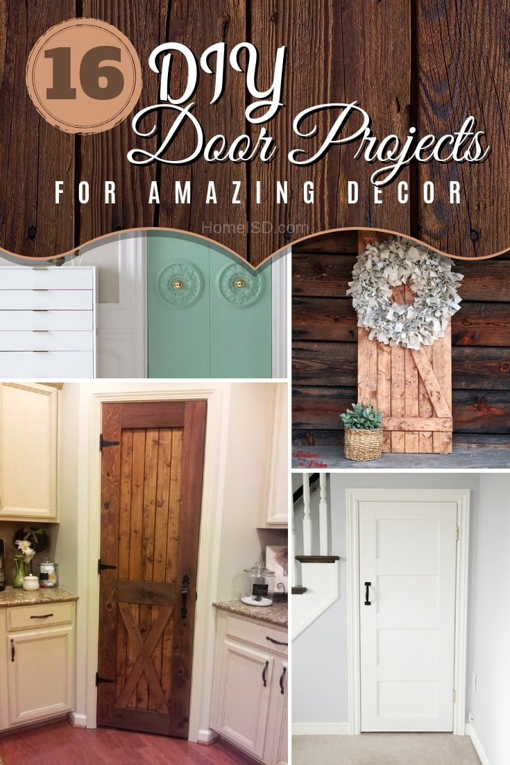 Don't forget to decorate the doors in your house. Here are 16 amazing DIY ideas. Great list to save! #homedecor #DIY