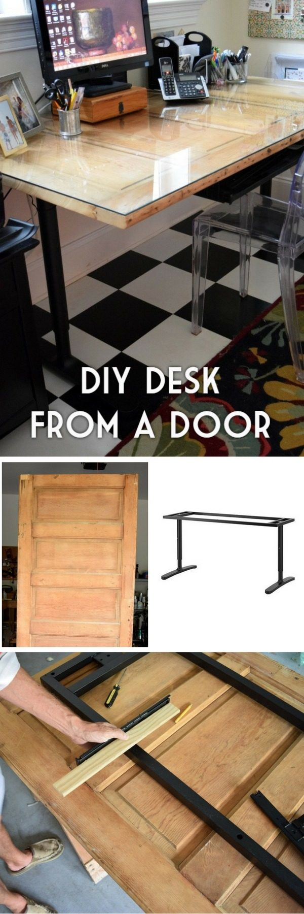 Check out the tutorial how to build a DIY desk from an old door