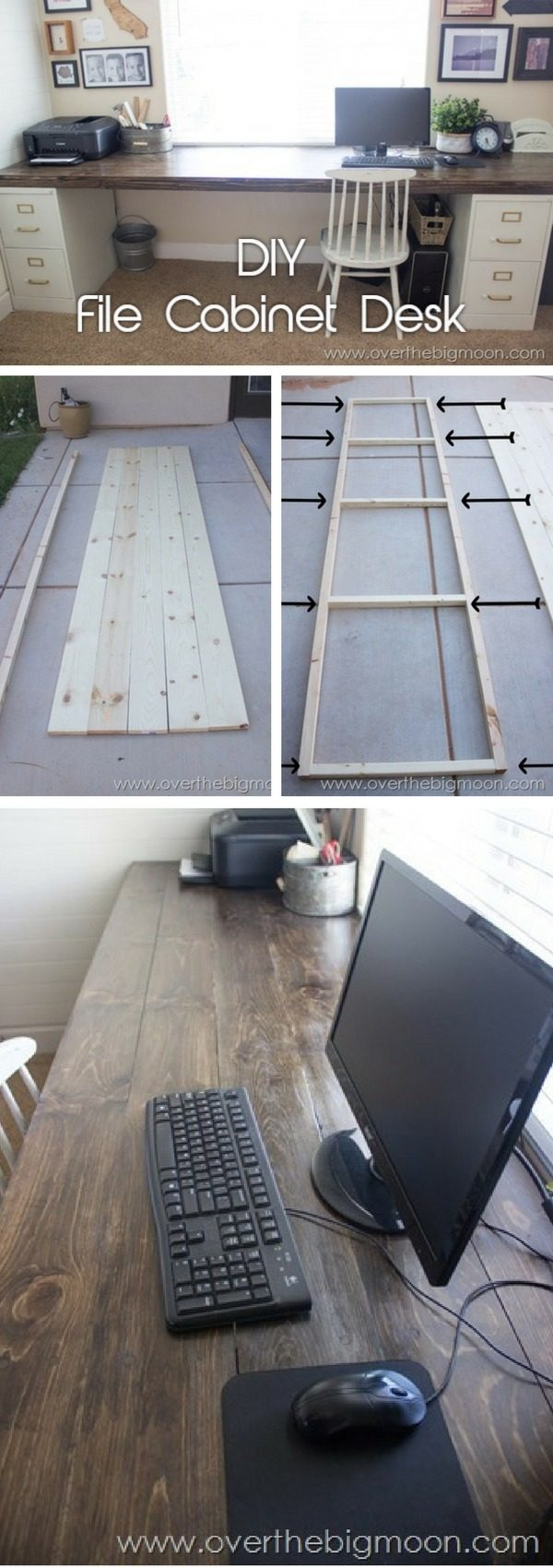 Check out the tutorial how to build a DIY desk from file cabinets and wood planks