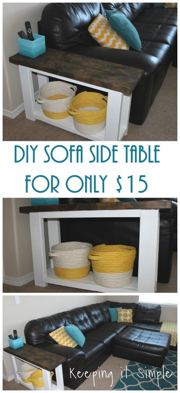 18 Easy DIY Sofa Side Tables You Can Build on a Budget - Check out the tutorial how make a DIY sofa side table
