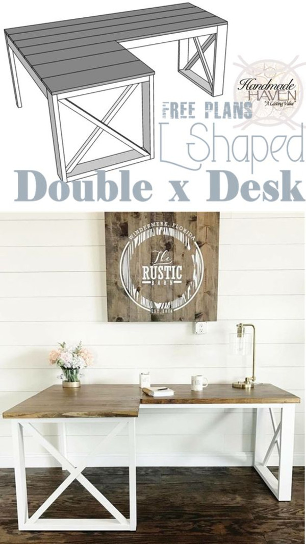Check out the tutorial how to build a DIY l-shaped double-x desk