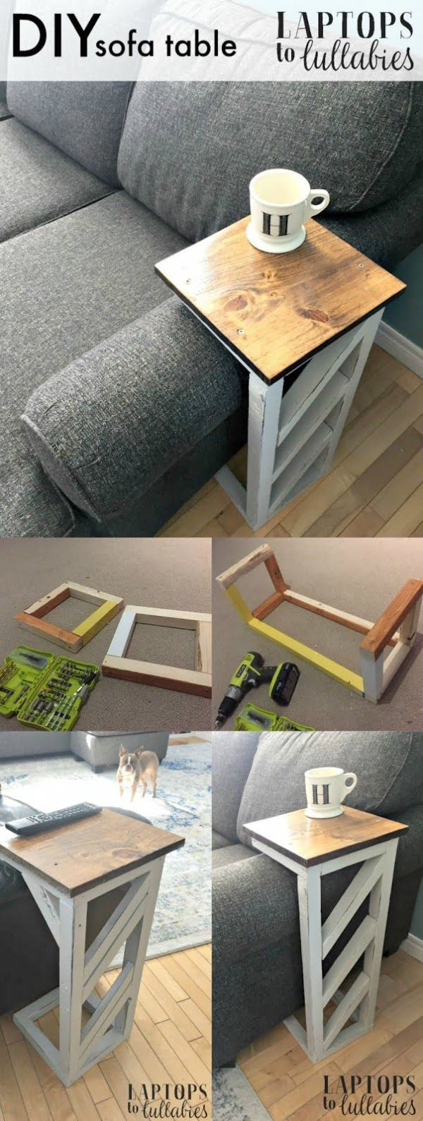 18 Easy DIY Sofa Side Tables You Can Build on a Budget - Check out the tutorial how make an easy DIY sofa side table