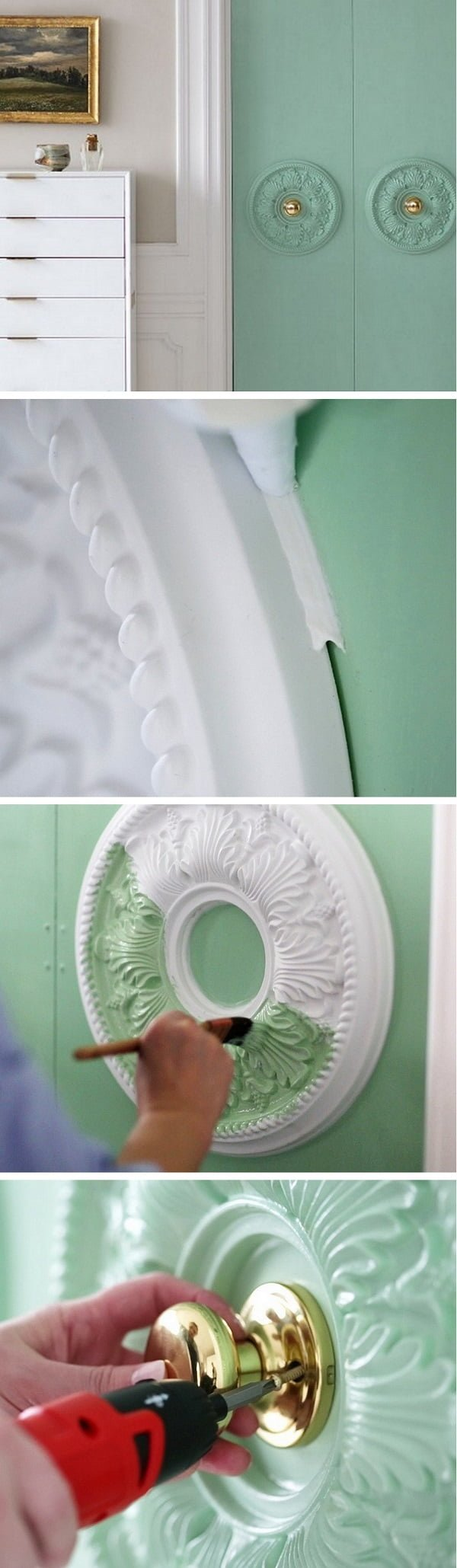 How to make DIY door embellishments with ceiling medallions