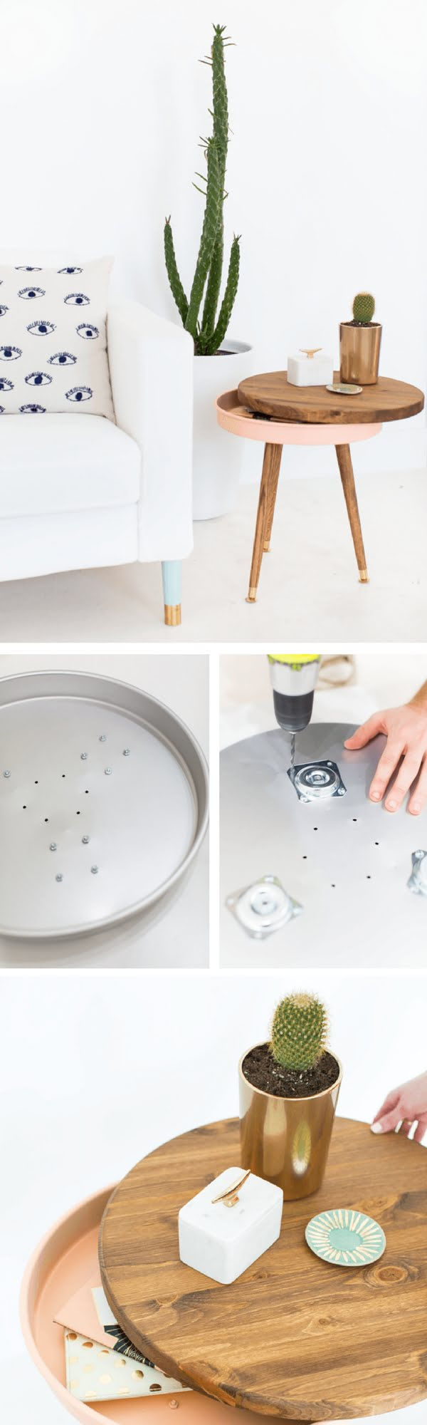 18 Easy DIY Sofa Side Tables You Can Build on a Budget - Check out the tutorial how make a DIY mid-century sofa side table