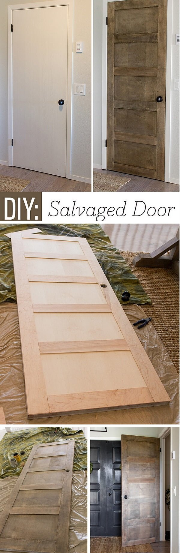 How to make DIY 5 panel rustic door with salvaged wood