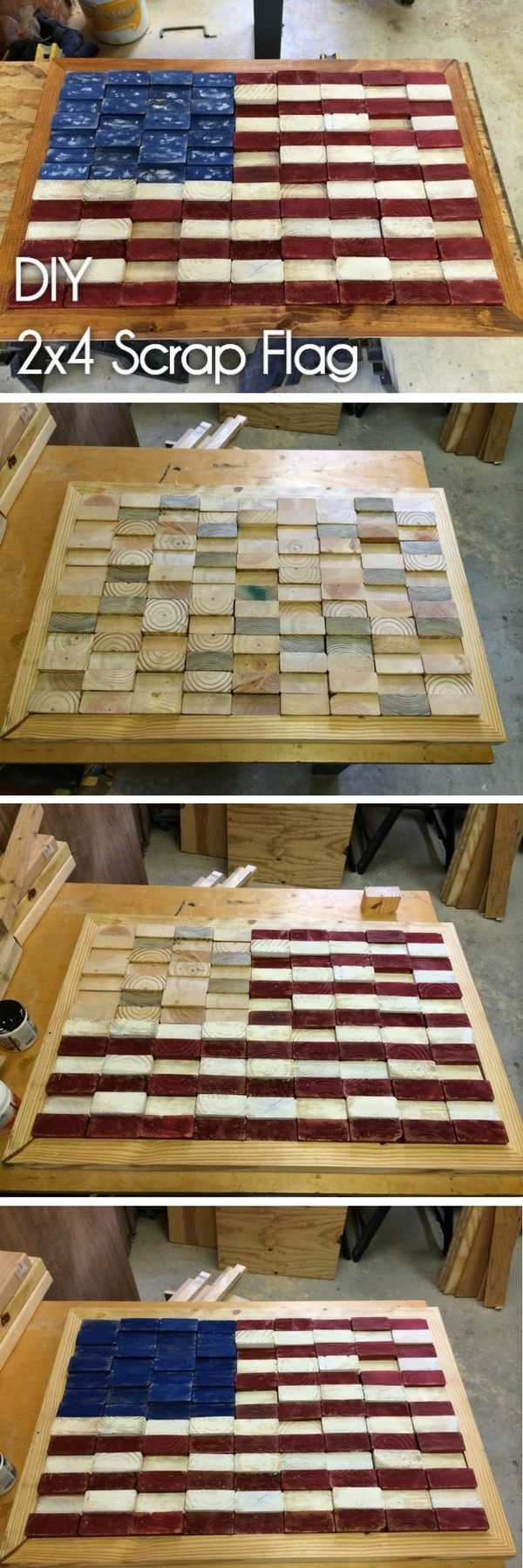 20 Crafty 2x4 DIY Projects That You Can Easily Make - Check out how to make a #DIY #wooden scrap flag from 2x4s #HomeDecorIdeas
