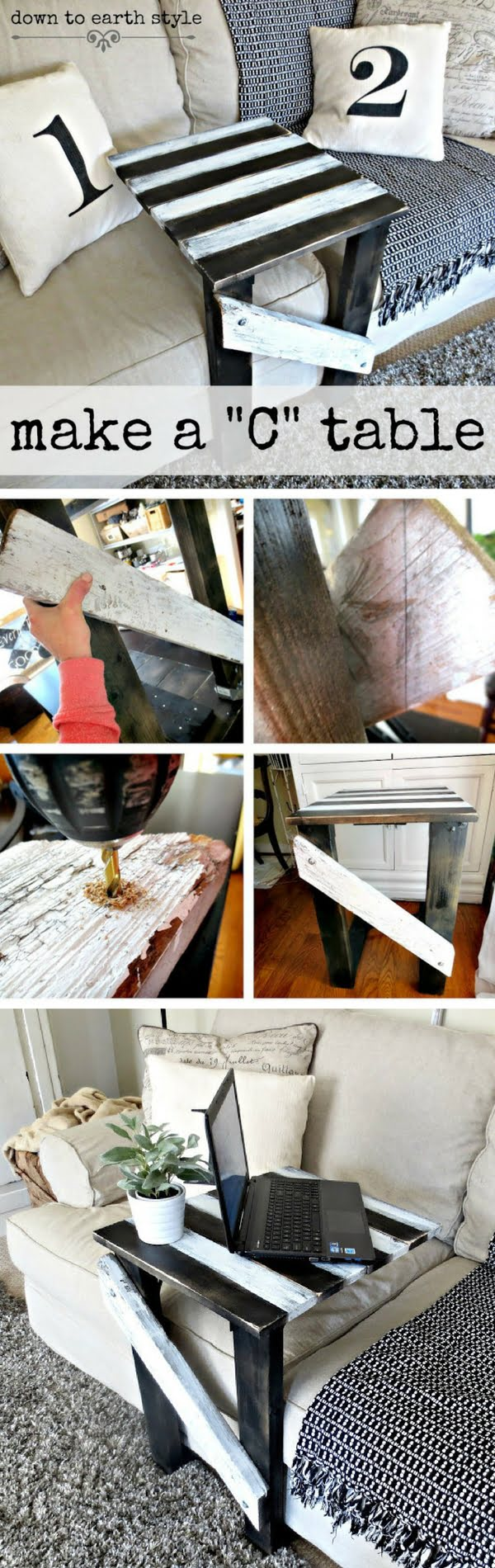 18 Easy DIY Sofa Side Tables You Can Build on a Budget - Check out the tutorial how make a DIY sofa side c-table