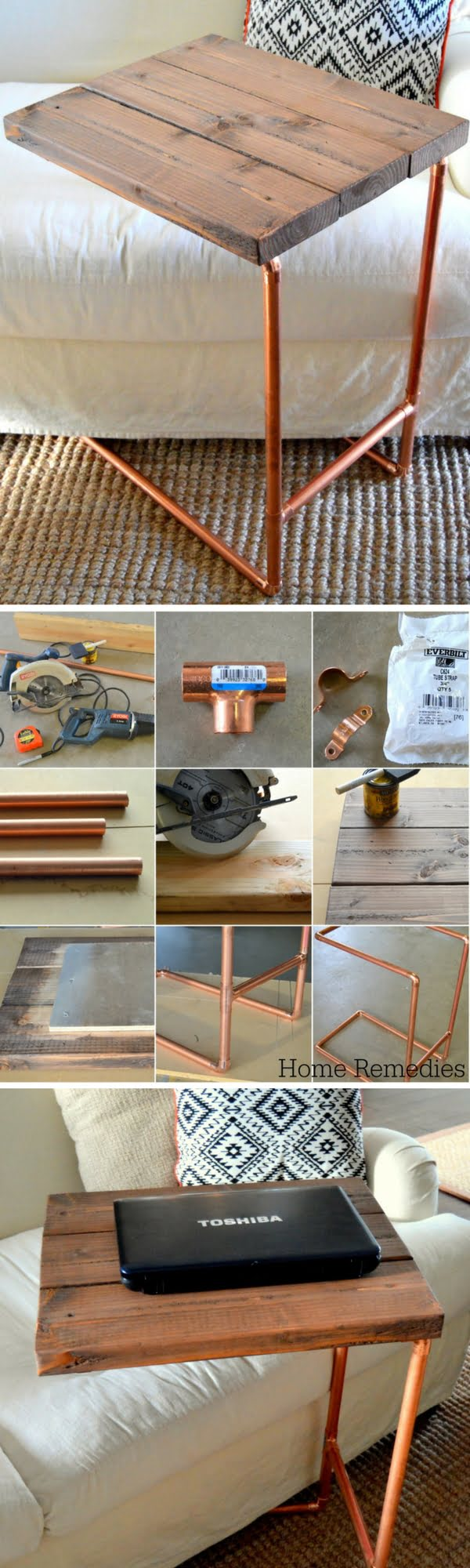 18 Easy DIY Sofa Side Tables You Can Build on a Budget - Check out the tutorial how make a DIY a metal pipe laptop sofa side table