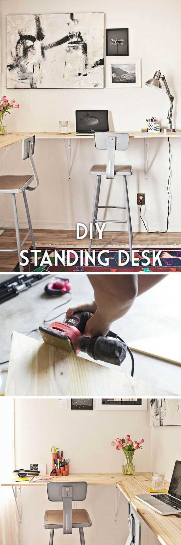 Check out the tutorial how to build a DIY standing desk