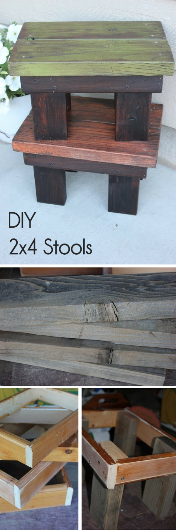 How to make #DIY wooden stools from 2x4s