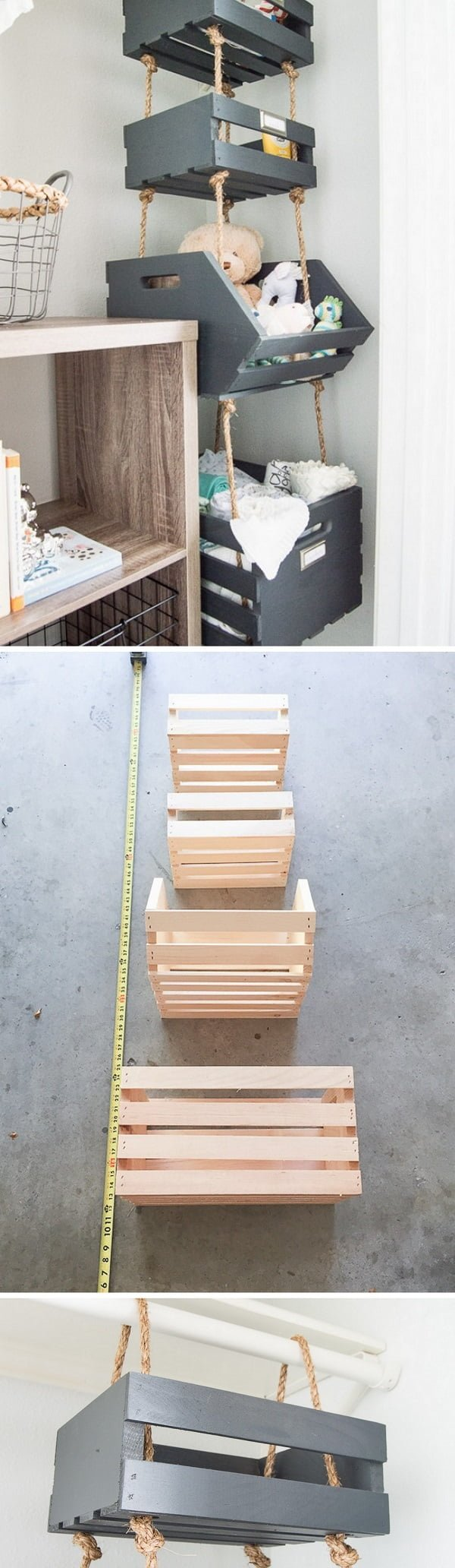 Check out the tutorial how to make DIY hanging closet crate shelves