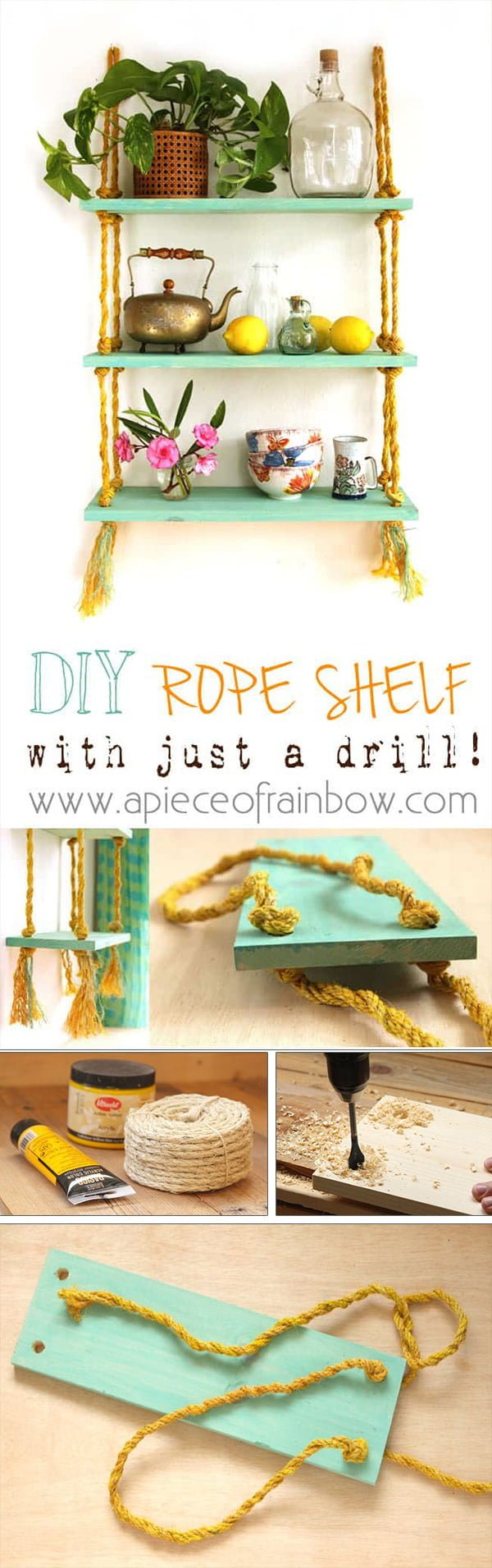 Check out the tutorial how to make an easy DIY hanging rope shelf
