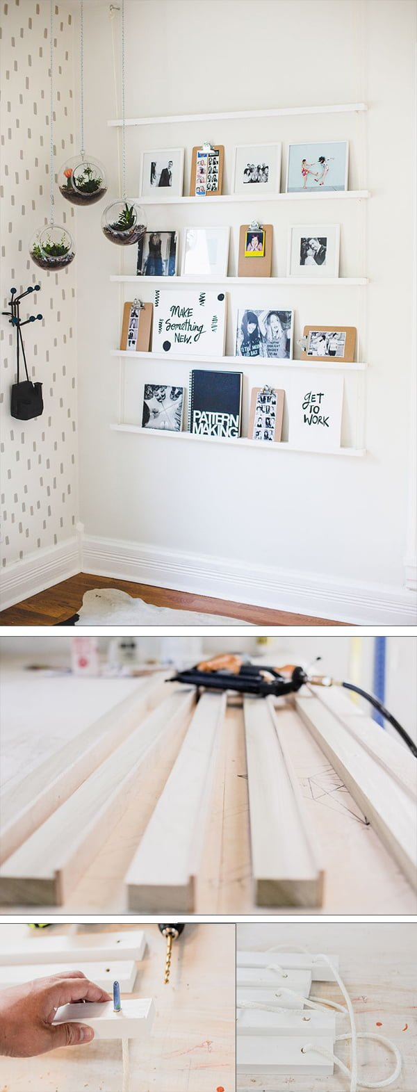 Check out the tutorial how to make easy DIY hanging rope shelving