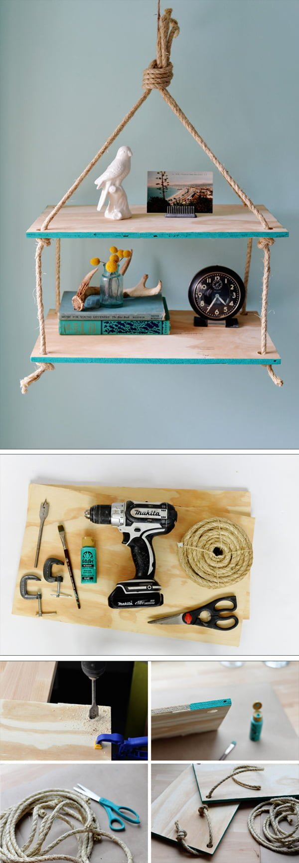 Check out the tutorial how to make a DIY hanging rope shelf