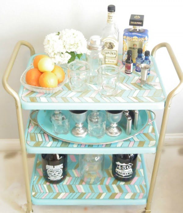 How to build a #DIY three shelved bar cart #homedecor