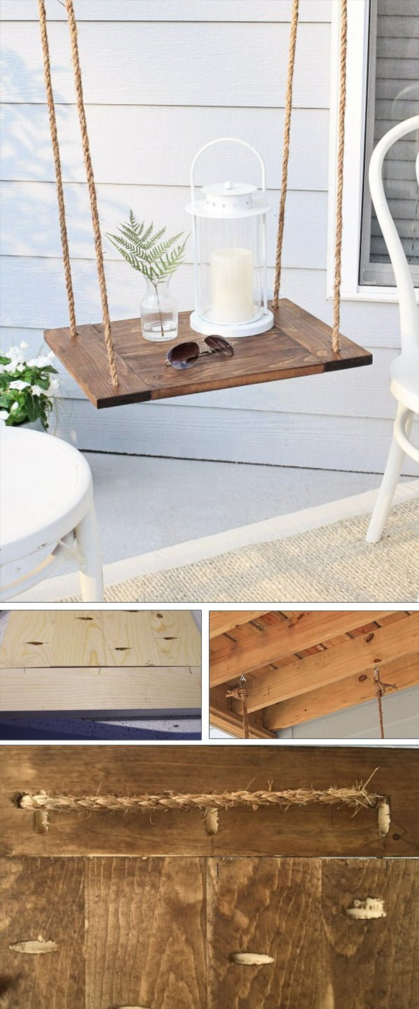 Check out the tutorial how to make a DIY patio hanging table