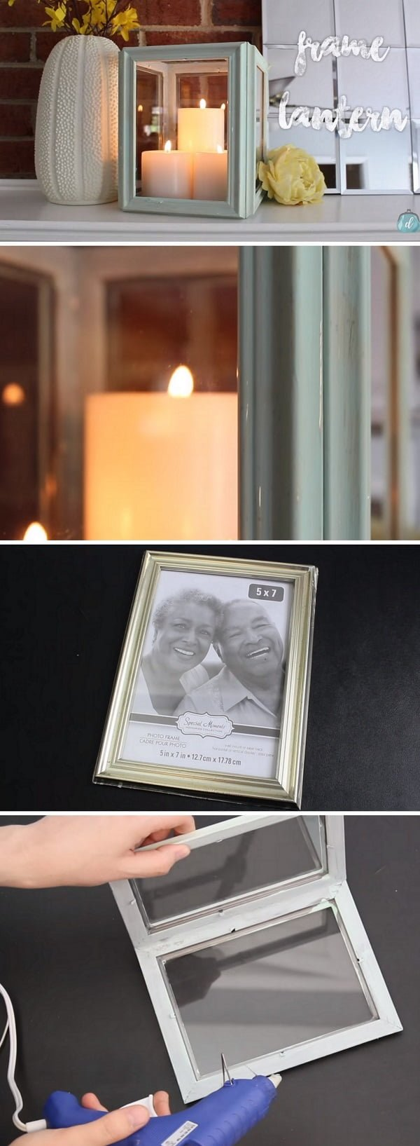 Check out the tutorial on how to make a  lantern from picture frames