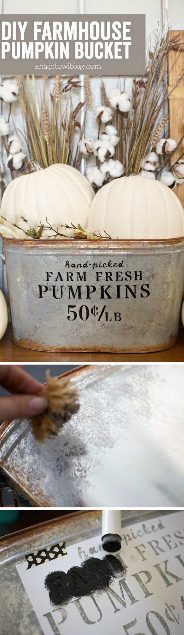 Check out the tutorial on how to make a DIY farmhouse pumpkin bucket for fall decor