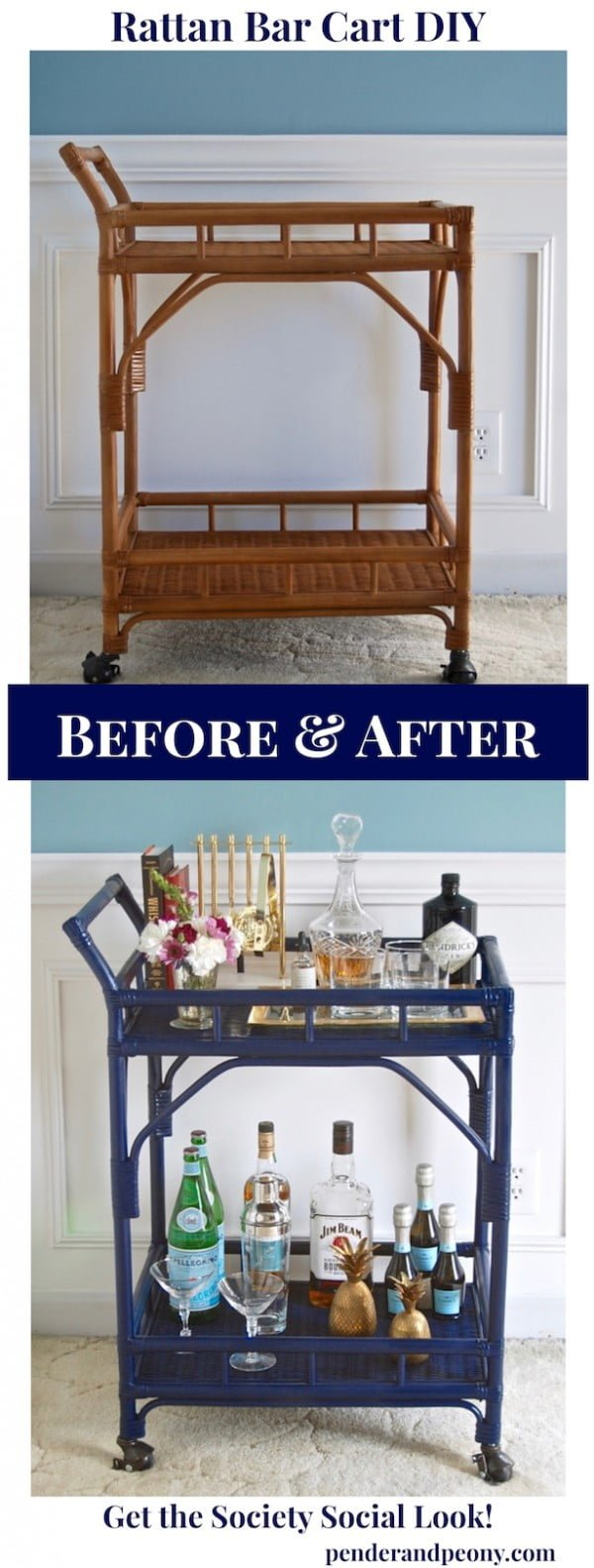 How to build a #DIY rattan bar cart #homedecor