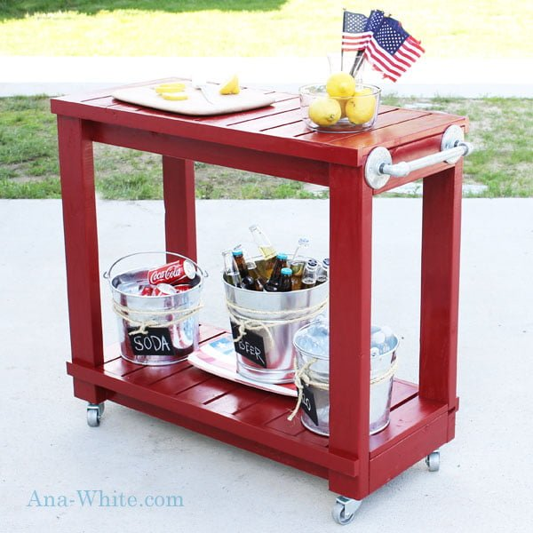 How to build a simple #DIY rolling bar cart #homedecor