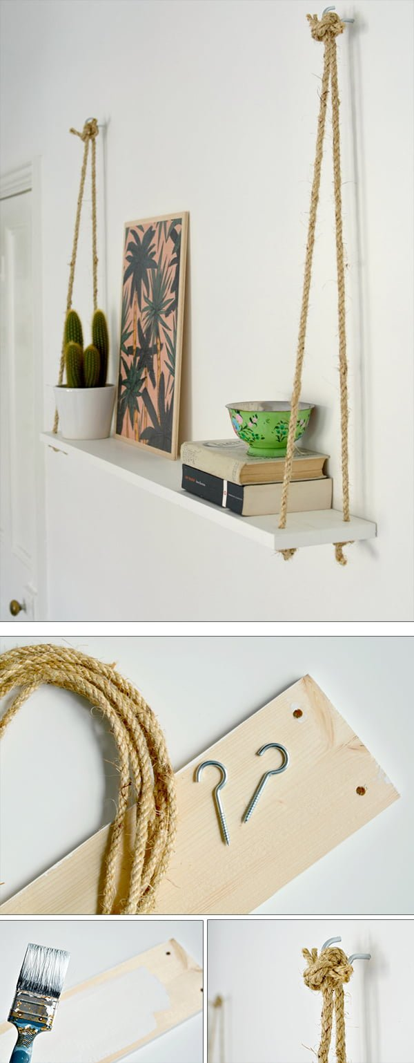 Check out the tutorial how to make DIY hanging rope shelving