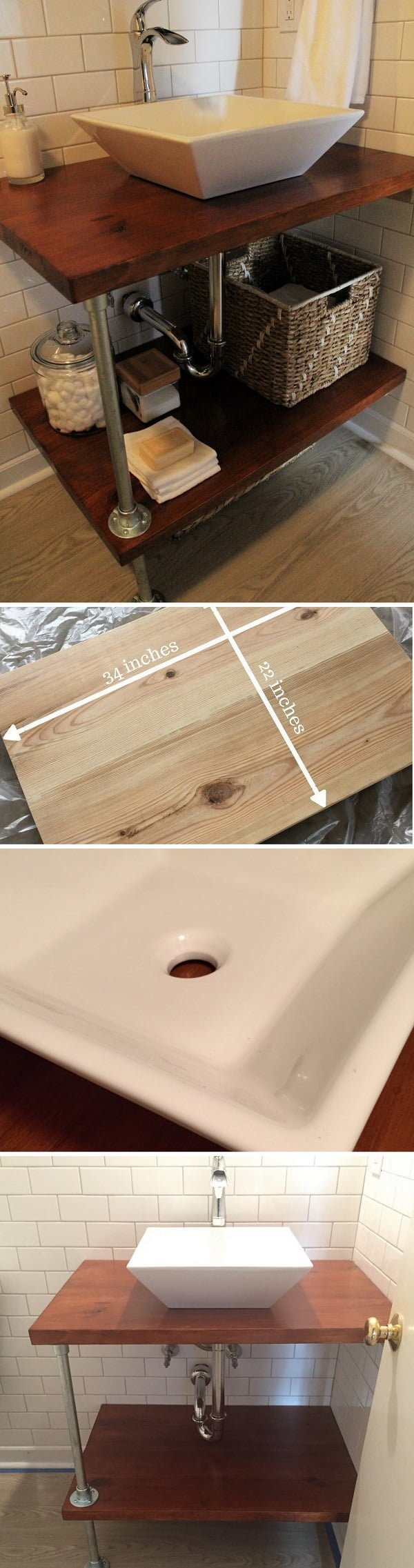 How to make a #DIY bathroom vanity shelves