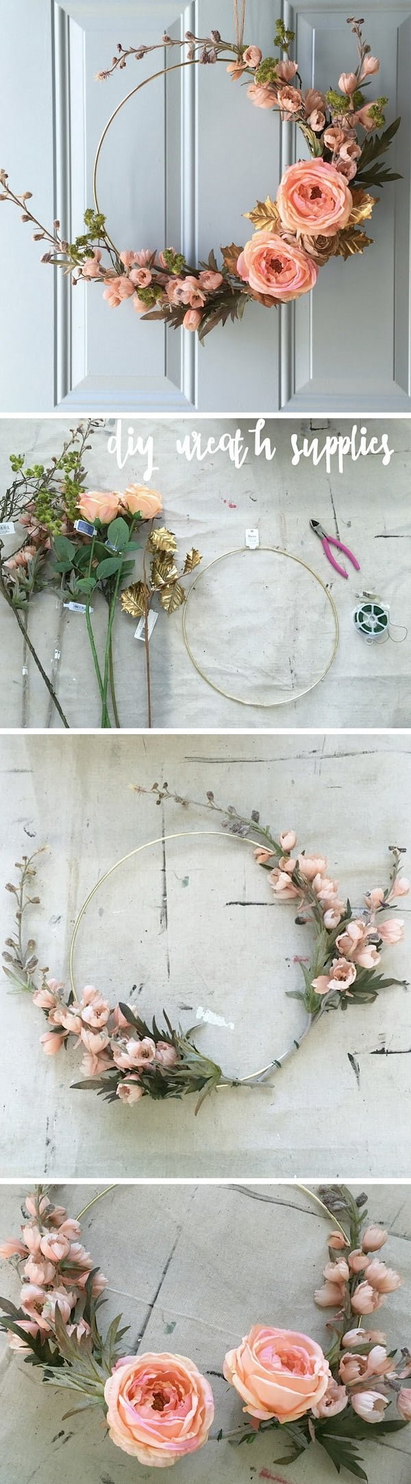 Check out the tutorial on how to make a DIY gold hoop floral fall wreath
