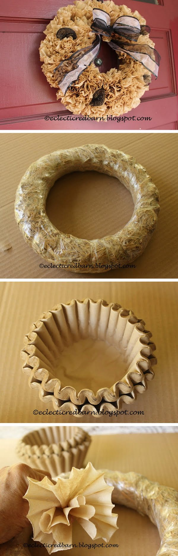 Check out the tutorial on how to make a DIY fall wreath from coffee filters