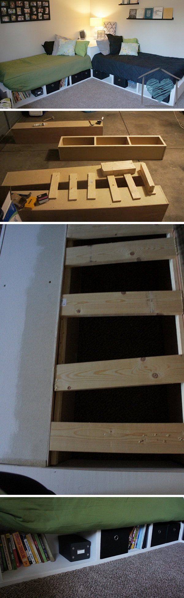 Check out the tutorial how to build a DIY corner storage bed