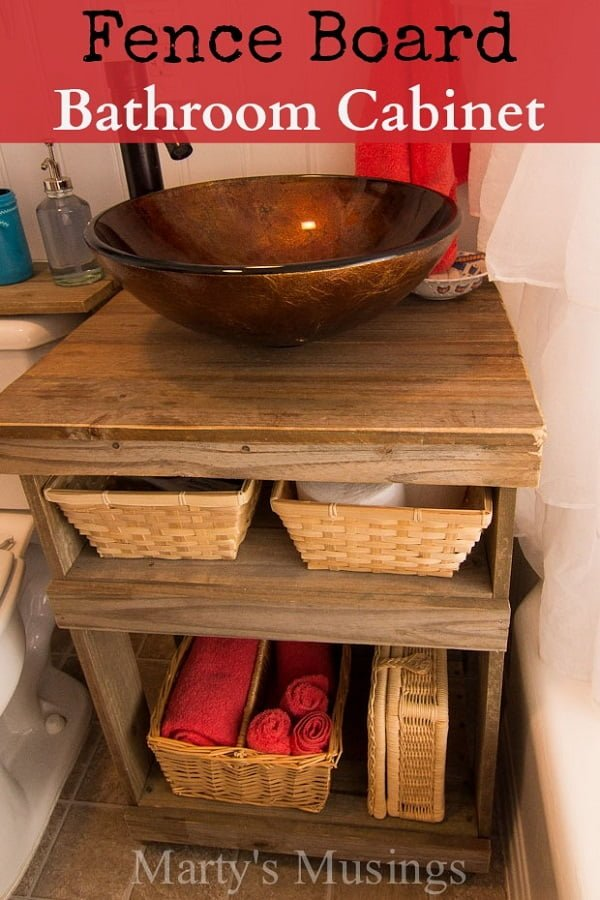 How to build a #DIY bathroom vanity cabinet form fence board #homedecor