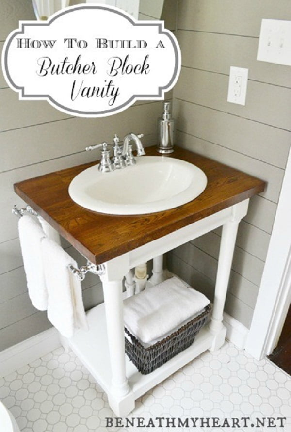 How to build a #DIY butcher block bathroom vanity #homedecor