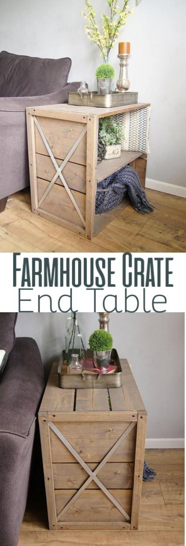 Check out the tutorial how to build a #DIY crate #farmhouse end table #HomeDecorIdeas